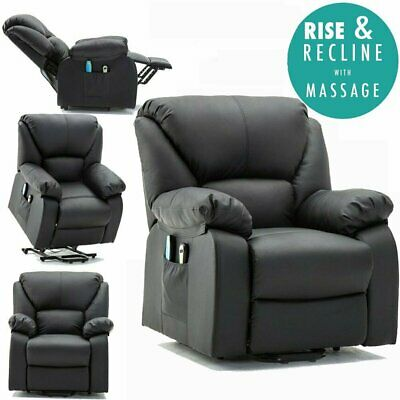 Electric Rise Recliner Winged Leather Armchair Massage Heated Chair Sofa Uk