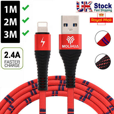 Long Braided USB Quick Charger Data Charging Cable Lead For iPhone 6s 7 8 6 5s X