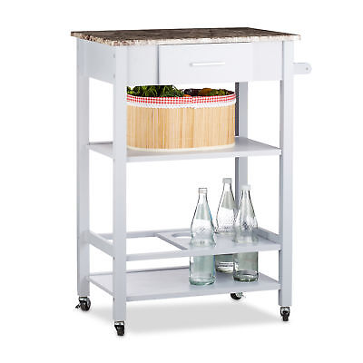 Kitchen Cart with Bottle Holder, Serving Trolley with Drawer, Casters