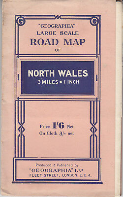 Geographia Large Scale Road Map of North Wales 3miles = 1 Inch 1/6 net
