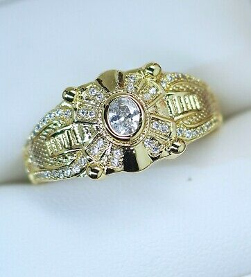 Antique Art Deco Jewellery Gold Ring White Sapphires Vintage Jewelry  11 or V1/2