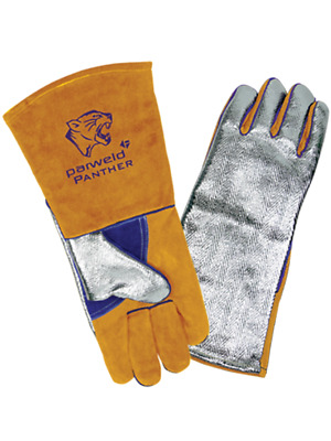 Parweld Panther Aluminised Heat Resistant Welder's Gauntlets Aluminium Backed