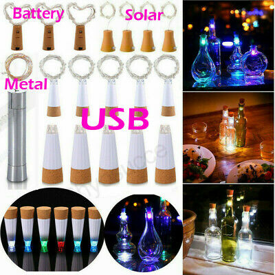 3-6pcs usb Solar Fairy Cork Lights String Wine Bottle Stopper For Party Events