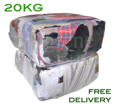 20Kg Bag of Mixed Rags Colours and material Cleaning Cloth