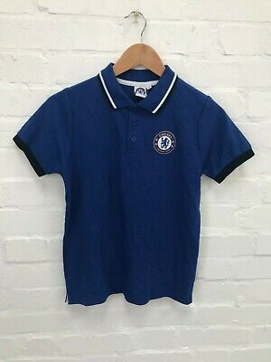 Chelsea FC Official Kid's Club Logo Polo Shirt - 10-11 Years - Blue - New