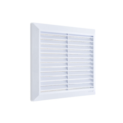 White Air Vent Grille 174mm x 174mm with Fly Screen and Fitting Frame Ventilator