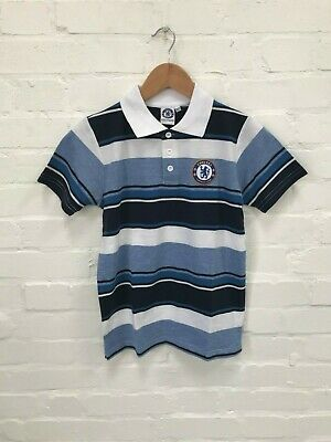 Chelsea FC Official Kid's Club Logo Stripe Polo Shirt - 10-11 Years - Blue - New