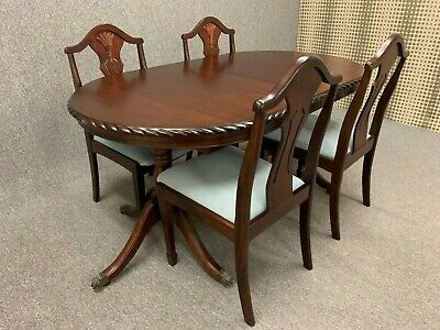 Coyle Mahogany Dining Table & Chairs Antique Style Table & 4 Chairs Extendable