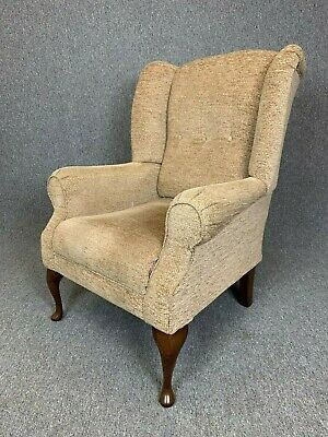 High Wing Back Armchair Brown Beige Fireside Armchair Easy Chair - See Delivery