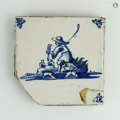 18th Century DUTCH BLUE & WHITE DELFT TILE MAN WITH HAWK