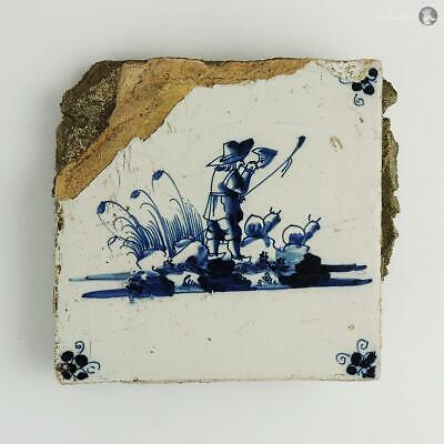 18th Century DUTCH BLUE & WHITE DELFT TILE MAN WITH HORN