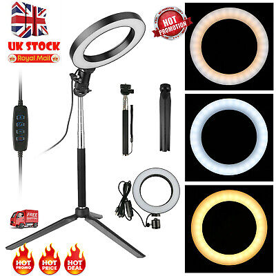 LED Ring Light Camera Lamp With Tripod Stand Phone Holder for YouTube Video Live