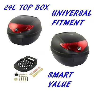 Motorcycle Top Box, 24 Litre Abs Lockable With Mounting Plate
