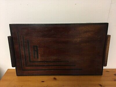 Large Vintage Art Deco Handmade Wooden Tray with handles Arts & Craft 1920s