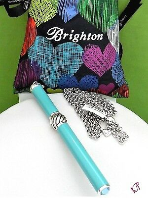 "Nwt Brighton ""pen Pal"" Turquoise/ Silver Bead Charm Crystal Tip Pen Necklace"