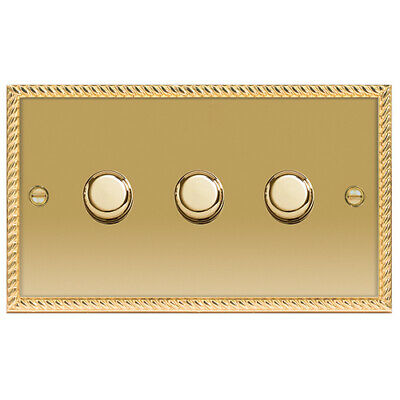 BG Nexus NBG83P Georgian Polished Brass Triple Dimmer Switch