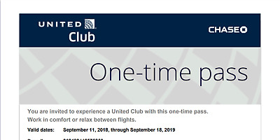 United Airlines UA Club Chase One-Time Pass Expires on September 18, 2019