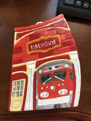 Fire House hand painted ceramic coin bank