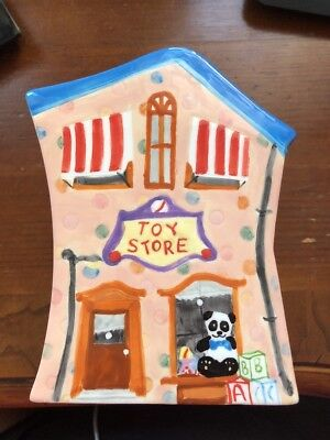Toy Store hand painted ceramic coin bank
