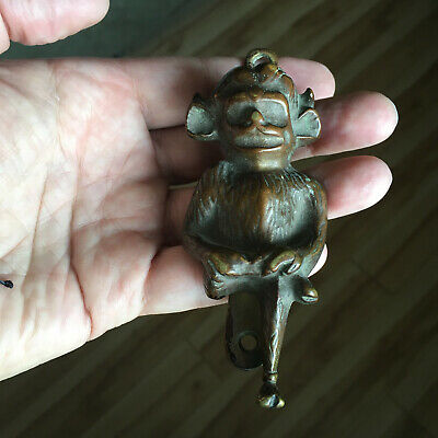 Rare Large Antique Lincoln Imp Bronze Brass Devil Pixie Gargoyle Door Knocker