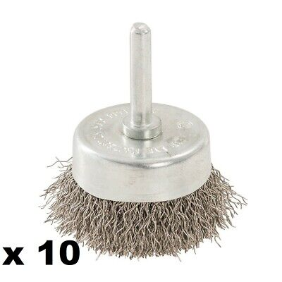 10 x 50MM ROTARY STAINLESS STEEL WIRE CUP BRUSH -  529311