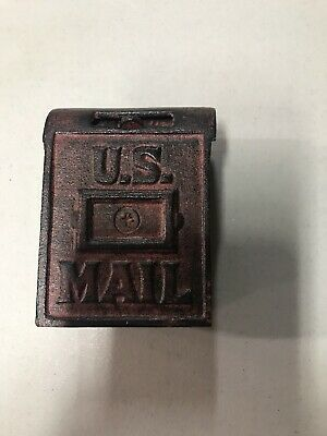 Vintage US Mail Box Cast Iron Bank Red