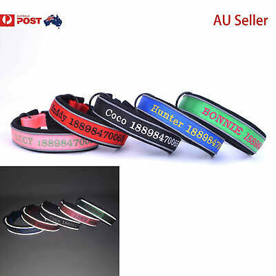 Personalised Dog Collar custom name / number ID Night Reflective AU Seller