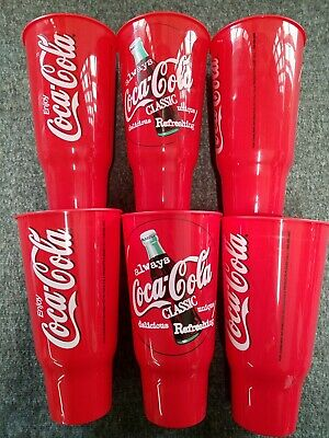 Vintage Always Coca Cola Plastic Cup Lot of 6 8.5""