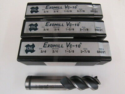 Lot Of Three - 3/4 Powdered Metal - 3 Flute - 50 Degree Helix - Osg End Mill