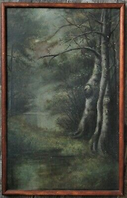 Antique Forest Creek Painting On Paperboard - Illegibly Signed