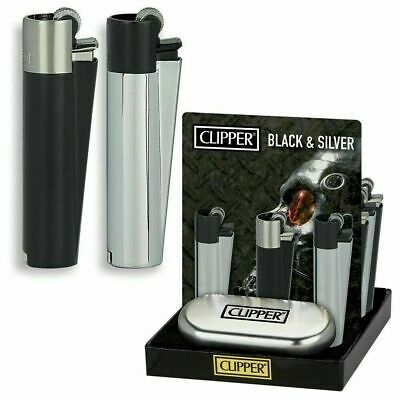 Personalised Traditional Black & Silver Clipper Cigarette Lighter, Engraved Gift