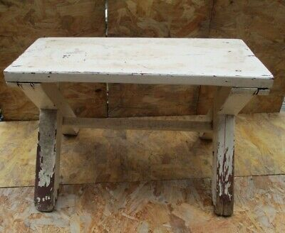 Vintage Retro Wooden Small Stool Rustic Shabby Chic Naive Home Made Midcentury