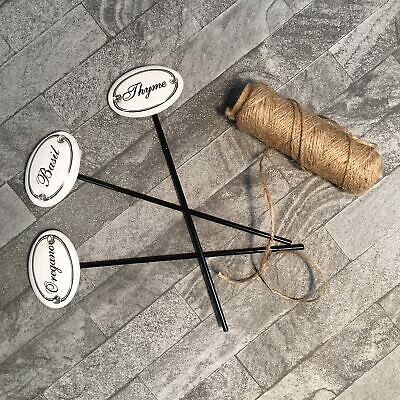 Set of 3 Traditional Kitchen Garden Herb Markers in Durable Iron and Ceramic