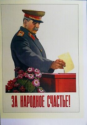 Stalin Poster Soviet Russian Propaganda Communism For national happines Reprint
