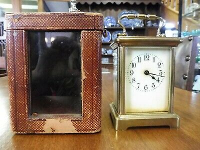 Antique Brass Carriage Clock and Case with key