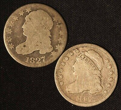 1827 and 1837 United States Capped Bust Dime Pair - Free Shipping USA