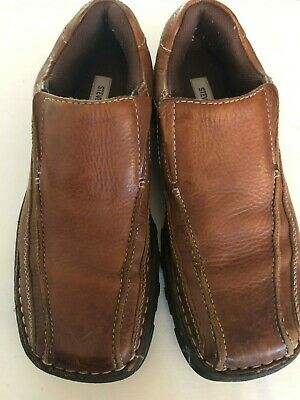 784a382860380 Steve Madden P Maddox Brown Leather Loafer Bicycle Toe Casual Shoe Size 8.5