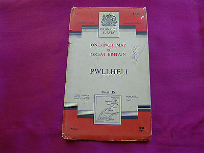 Ordnance Survey Map No.115 PWLLHELI - One Inch Map, Published 1962, UK Seller