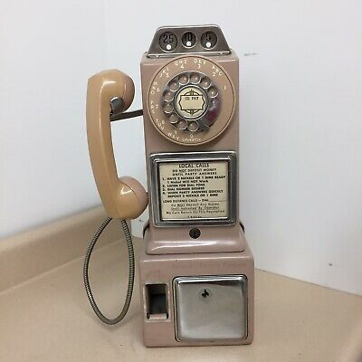 Vintage Pink Automatic Electric Pay Phone 3 Coin Slot Rotary Dial Telephone