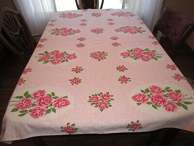 Vintage Printed Tablecloth With Roses, Pink Swirls, Cutter?