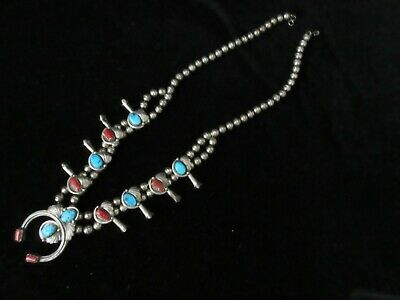 Early Vintage Hand Made Sterling Silver Turquoise/Coral Squash Blossom Necklace