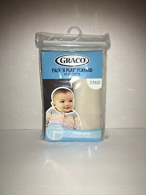 New Graco Pack 'n Play Playard Fitted Sheets Dark Gray/Pale Gray 2 Count A3