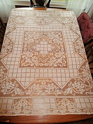 """Vintage White Italian Hand Made Filet Lace Tablecloth 63x66"""""""