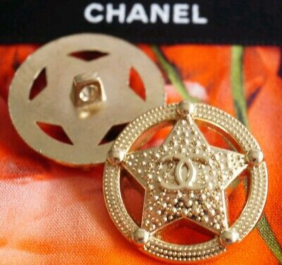 CHANEL BUTTONS SET OF 2 CC LOGO STAR 1 inch 25 mm GOLD TONED METAL