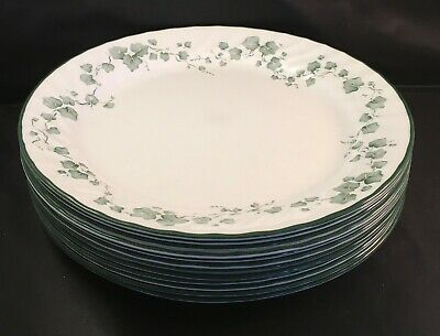 "Lot of 12 Vintage Corelle Callaway Ivy 10"" Dinner Plate White Swirl"