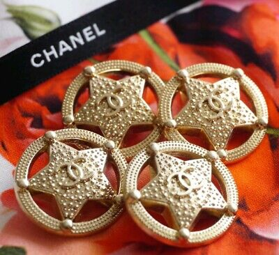 CHANEL BUTTONS SET OF 4 CC LOGO STAR 1 inch 25 mm GOLD TONED METAL