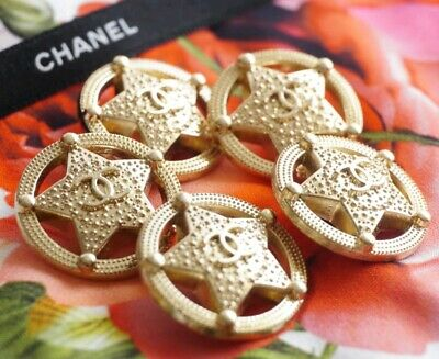 CHANEL BUTTONS SET OF 5 CC LOGO STAR 1 inch 25 mm GOLD TONED METAL