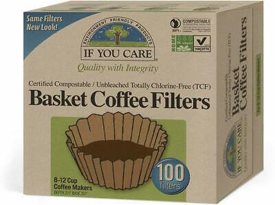 Unbleached Coffee Filters, If You Care, 100 piece 8 Inch Basket