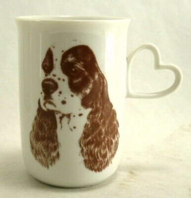 Springer Spaniel White Porcelain Mug with Heart Handle by Dogonit