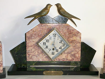 09B52 Antique Wall Clock Marble Art Déco Statue Regulated Swallow 1940